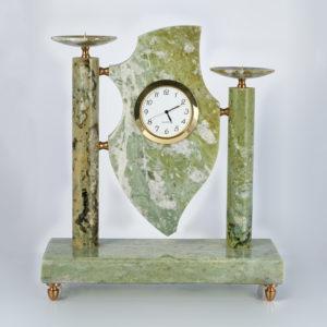 Часы с подсвечником офиокальцит  7х20х24 см