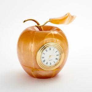 Часы яблоко селенит  8,5 см