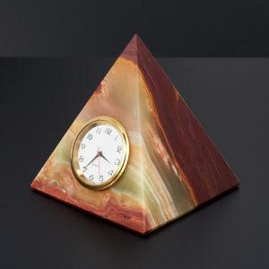 Часы пирамида оникс мраморный  5 см