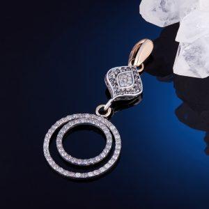 Кулон бриллиант  огранка (серебро 925 пр., золото 585 пр.)