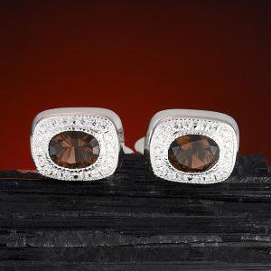Запонки раухтопаз  огранка (серебро 925 пр.)