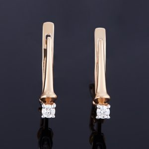 Серьги бриллиант  огранка (золото 585 пр.)