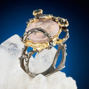 Кольцо розовый кварц  огранка (серебро 925 пр., позолота) размер 18,5