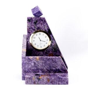 Часы с визитницей чароит  9х11х17,5 см