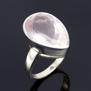 Кольцо розовый кварц  огранка (серебро 925 пр.) размер 18,5