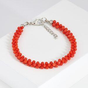 Браслет коралл оранжевый  17 см (+3 см)  (биж. сплав)