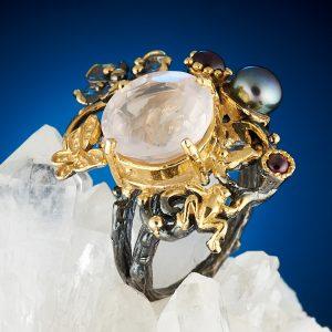 Кольцо розовый кварц  огранка (серебро 925 пр., позолота) размер 17,5