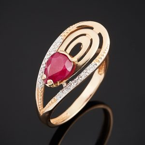Кольцо рубин  огранка (золото 585 пр.) размер 16