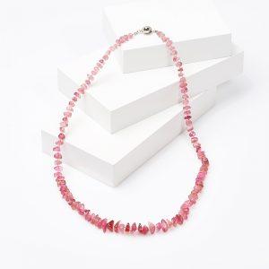 Бусы турмалин розовый (рубеллит)  53 см (биж. сплав)