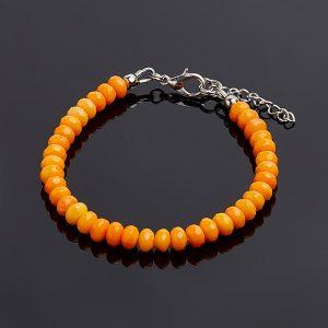 Браслет коралл оранжевый  огранка 5,5-6 мм 17 см (+3 см)  (биж. сплав)