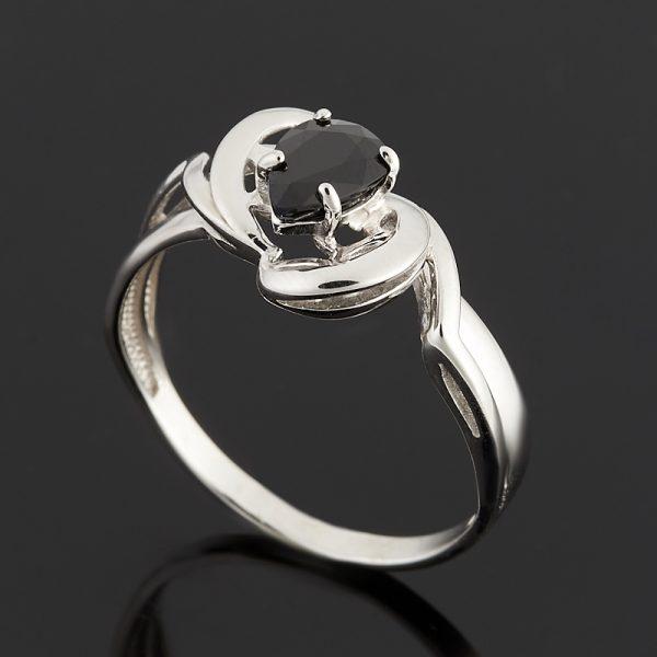 Кольцо сапфир черный  огранка (серебро 925 пр.) размер 18