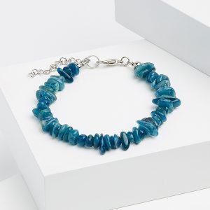Браслет апатит синий  16 см (+3 см)  (биж. сплав)