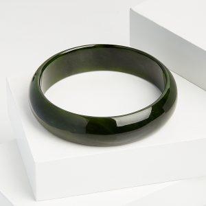 Браслет нефрит зеленый цельный  20 см