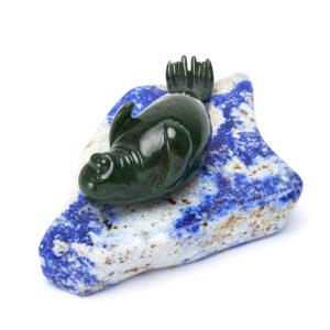 Тюлень нефрит зеленый, лазурит  5,5х13 см