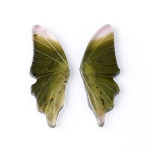 Комплект вставок турмалин зеленый (верделит)  6*15 мм (2 шт)