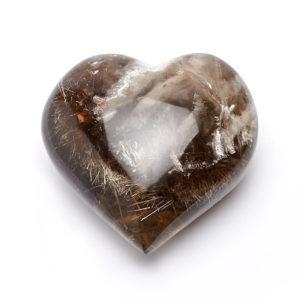 Сердечко раухтопаз с рутилом  9 см