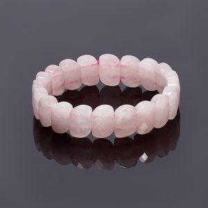 Браслет розовый кварц  огранка 19 см