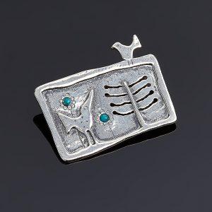 Брошь бирюза  (серебро 925 пр.)