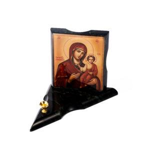 Подсвечник с изображением Пресвятая Богородица Смоленская змеевик  16х11х1,5 см