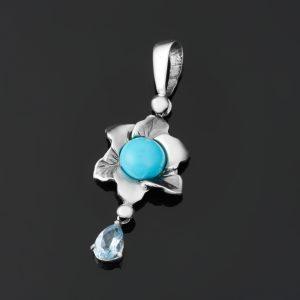 Кулон микс бирюза топаз цветок (серебро 925 пр.)