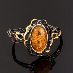 Браслет янтарь пресс  18 см (+3 см)  (серебро 925 пр., позолота)