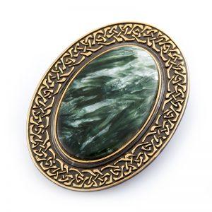Брошь клинохлор (серафинит)  (серебро 925 пр., позолота)