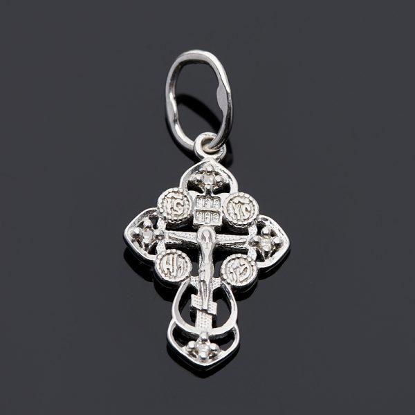 Кулон бриллиант  крест огранка (серебро 925 пр.)