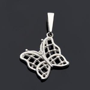 Кулон бриллиант  бабочка огранка (серебро 925 пр.)