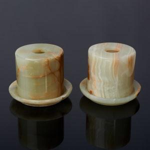 Подсвечник закрытый оникс мраморный  7х7 см