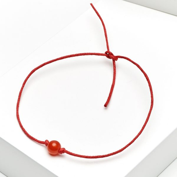 Браслет сердолик  красная нить Для здоровья 6 мм регулируемый (текстиль)