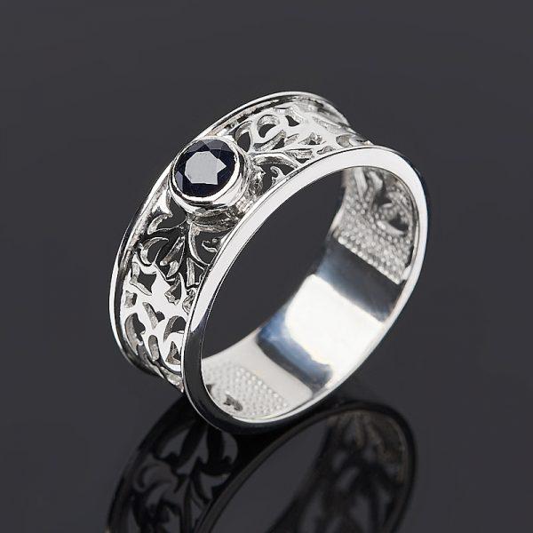 Кольцо сапфир черный  огранка (серебро 925 пр.) размер 16,5