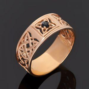 Кольцо сапфир черный  (серебро 925 пр. позолота) огранка размер 20,5