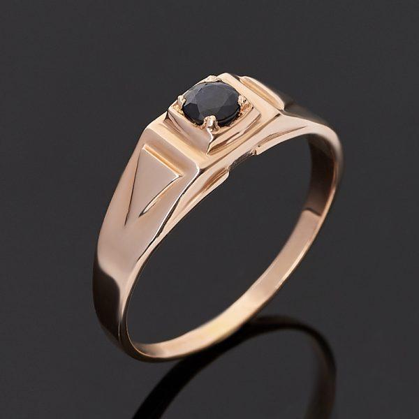 Кольцо сапфир черный  (серебро 925 пр. позолота) огранка размер 20