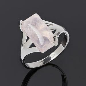 Кольцо розовый кварц  (серебро 925 пр. родир. бел.) размер 19,5