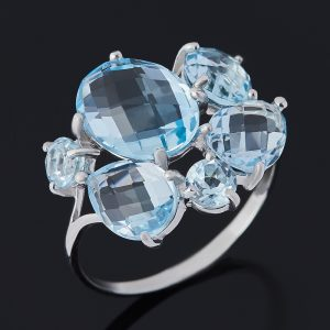 Кольцо топаз голубой  (серебро 925 пр. родир. бел.) огранка размер 18