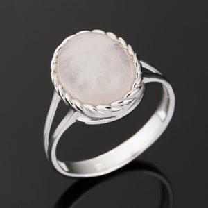 Кольцо розовый кварц  (серебро 925 пр. родир. бел.) размер 18