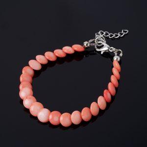 Браслет коралл розовый  (биж. сплав) 7 мм 16 см (+3 см)
