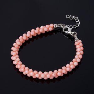 Браслет коралл розовый  (биж. сплав) 16 см (+3 см)