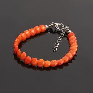 Браслет коралл оранжевый  (биж. сплав) 6 мм 16 см (+3 см)
