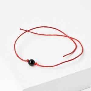Браслет змеевик  красная нить От завистников 6 мм регулируемый (текстиль)