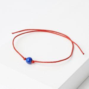 Браслет лазурит  красная нить Для репутации 6,5 мм регулируемый (текстиль)