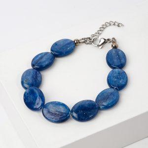 Браслет кианит синий  (сталь хир.) 16 см (+3 см)