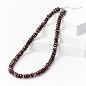 Бусы перламутр коричневый  (биж. сплав) 10 мм 49 см (+7 см)