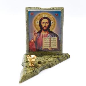 Подсвечник с изображением Иисус Христос змеевик  15х10,5х1,5 см