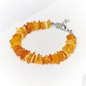 Браслет янтарь  (биж. сплав) 16 см (+3 см)