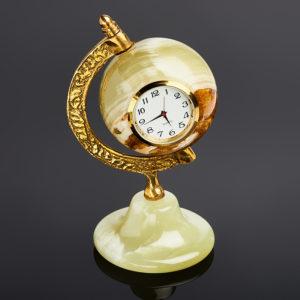 Часы глобус оникс мраморный  12 см
