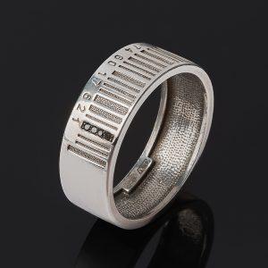 Кольцо бриллиант черный  (серебро 925 пр. родир. бел.) огранка размер 20,5