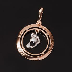 Кулон бриллиант  (серебро 925 пр. позолота, родир. бел.) огранка