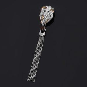 Брошь раухтопаз  (серебро 925 пр. родир. бел., родир. черн.) огранка