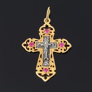 Кулон рубин  (серебро 925 пр. оксидир., позолота) крест огранка